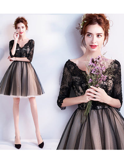 2018 Cheap Homecoming Dress V Neck Black Lace Homecoming Dress # VB2003 - DemiDress.com