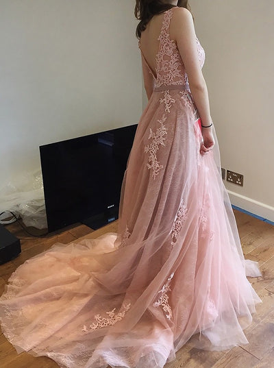 Chic A Line Prom Dress Simple Elegant Lace Cheap Long Prom Dress #VB2017
