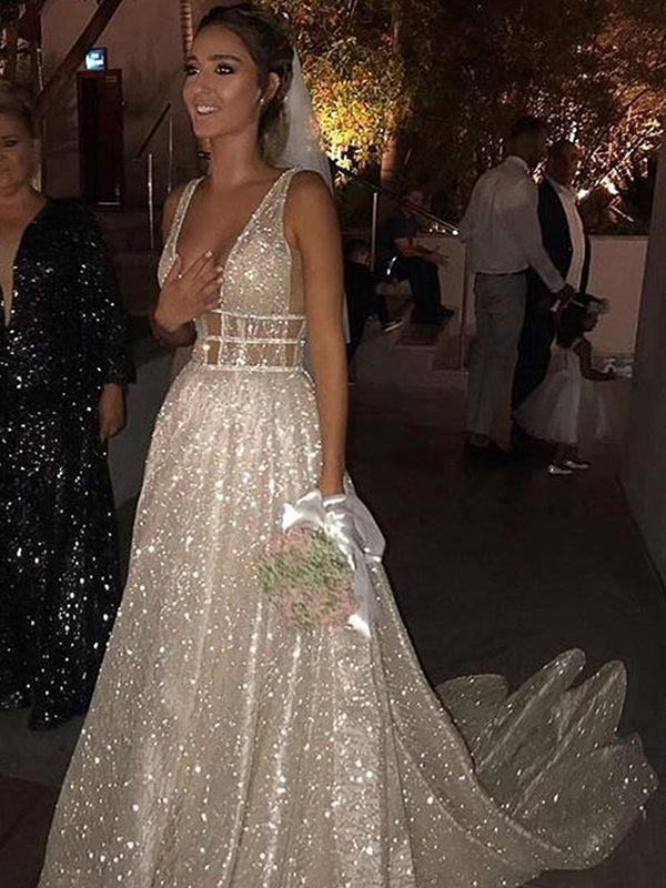 Chic Silver Prom Dress V Neck Cheap Long Beading Prom Dress # VB3461