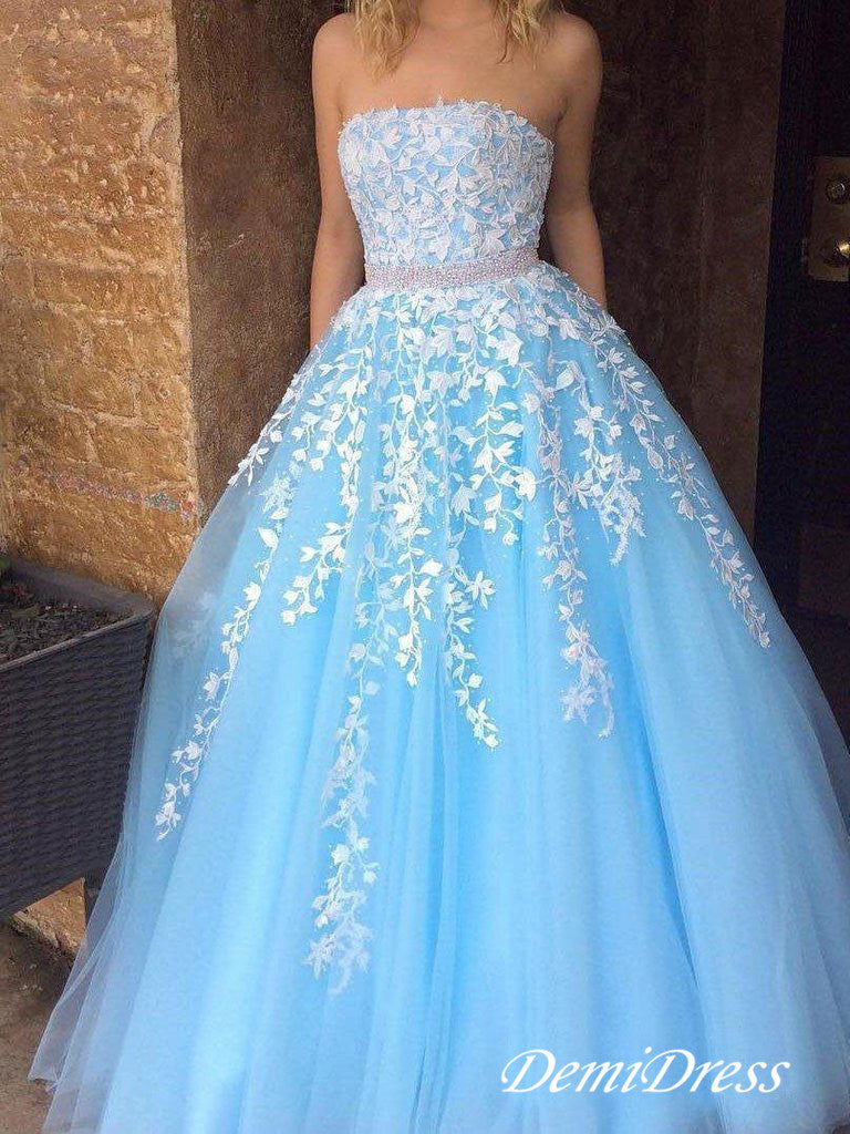 Blue Lace A Line Prom Dress Strapless African Plus Size Prom Dress # VB4116
