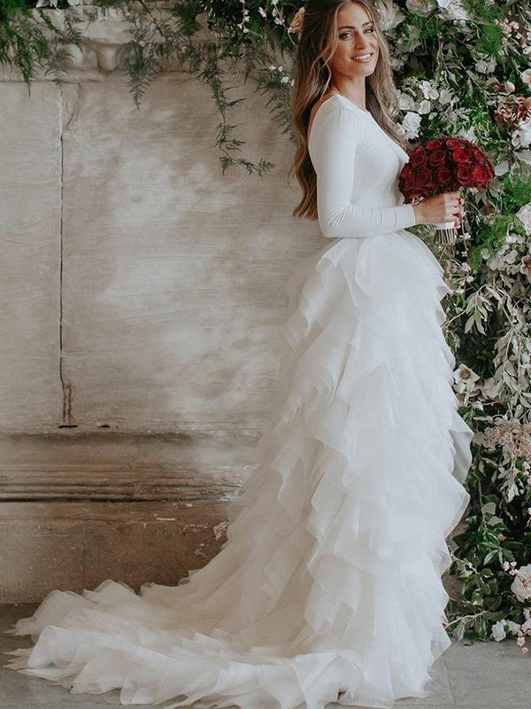 Ivory Cheap Wedding Dress Long Sleeve Tulle Vintage Wedding Dress # VB4652