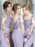 Mermaid Lavender Bridesmaid Dresses African Long Sleeve Bridesmaid Dresses # VB4853