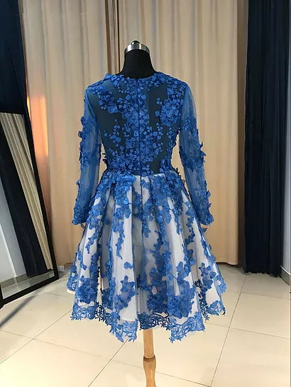 A-line Scoop Short/Mini Long Sleeve Tulle Homecoming Dress/Short Dress # VB879