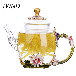 Exquisite Luxury Enameled Crystal Glass Flower Teapot - Garden Gift Hub