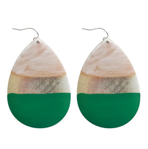 Painted Tear Drop Earrings - Green