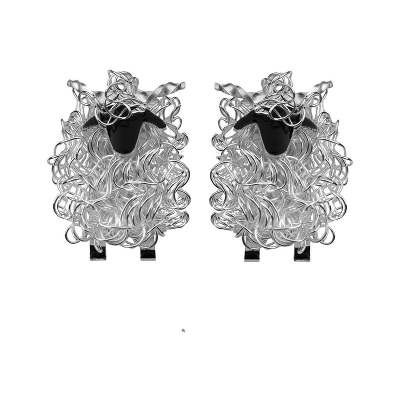 Silver Valais Blacknose sheep cufflinks - Fresh Fleeces, Valais blacknose gift for men, valais blacknose jewellery, valais blacknose jewelry, swiss sheep cufflinks, switzerland sheep cufflinks, silver valais blacknose sheep