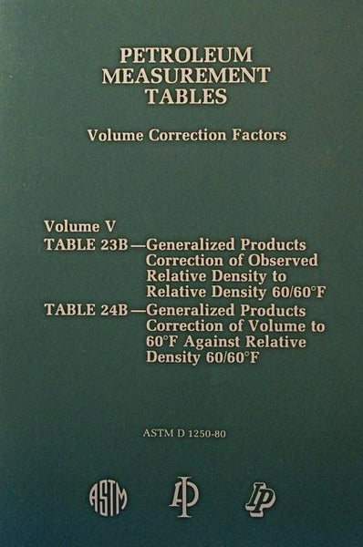 Petroleum Measurement Tables - Volume Correction Factors: Volume V - Table 23B and Table 24 B
