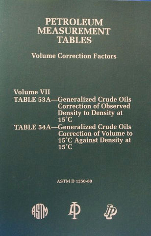 Petroleum Measurement Tables - Volume Correction Factors: Volume VII - Table 53 A and Table 54A