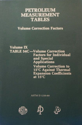 Petroleum Measurement Tables - Volume Correction Factors: Volume IX - Table 54C