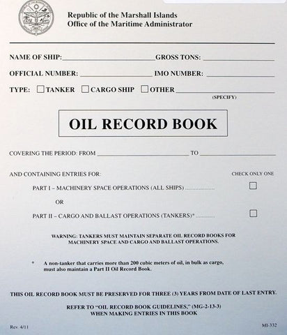 Republic of the Marshall Islands Oil Record Book