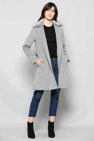 Coat with Faux Fur Collar Chic & Classy Gray | MODA ME COUTURE