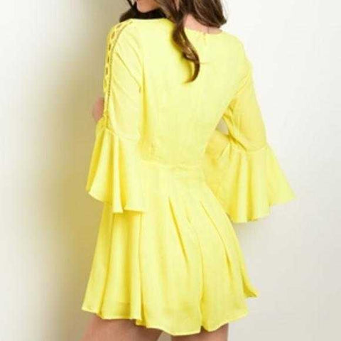 YELLOW BELL-SLEEVE ROMPER | MODA ME COUTURE