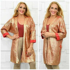 GOLD METALLIC KNITTED COZY CARDIGAN | MODA ME COUTURE