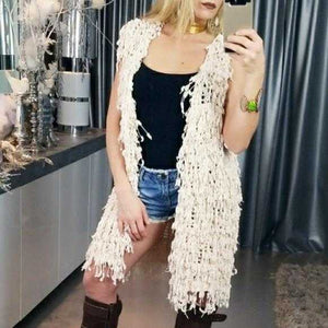 SHAG FRINGED KNIT VEST | MODA ME COUTURE