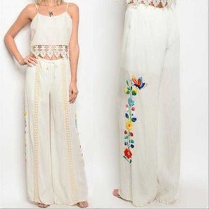 EMBROIDER WIDE LEG PANTS | JOY HAN