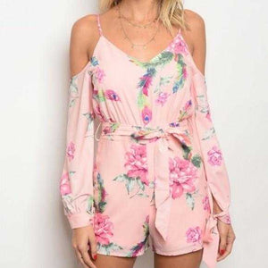 BLUSH PINK FLORAL ROMPER | MODA ME COUTURE