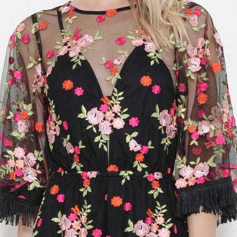 EMBROIDERY FLORAL ROMPER | MODA ME COUTURE
