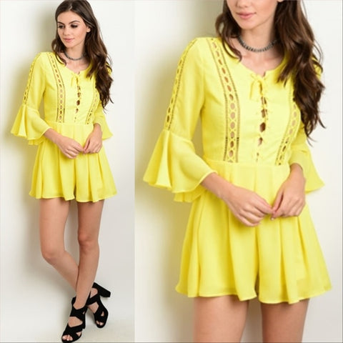Yellow Bell Sleeved Romper