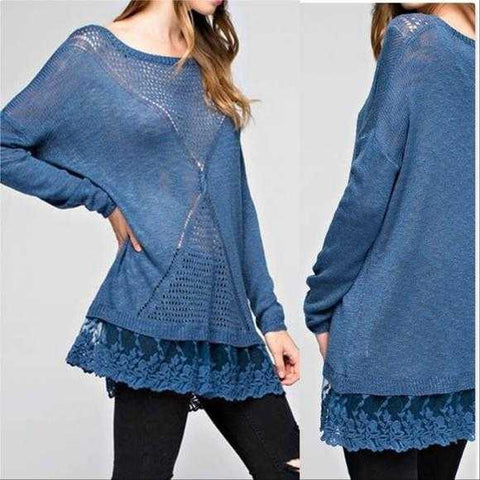 HARMONY Blue Knit Top | MODA ME COUTURE