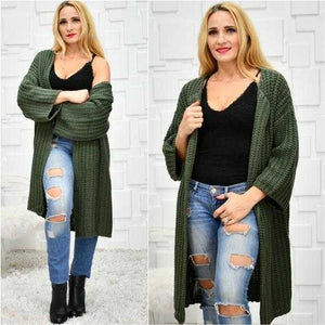 Chunky Knit Green Cardigan | MODA ME COUTURE