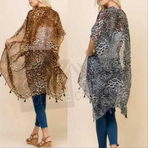 GRAY OR BROWN LEOPARD PRINT KIMONO | MODA ME COUTURE