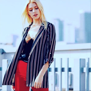 Trendy Striped Blazer