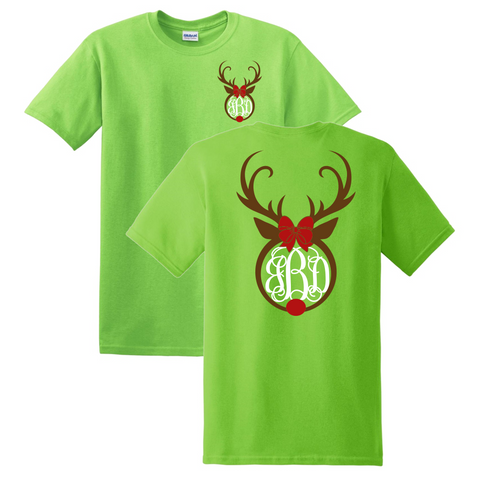 Rudolph Christmas Monogrammed T-Shirt