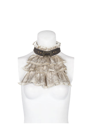 Vintage Lace Jabot Coffee and Cream WS-292