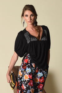 Taryn Yoke Top w/ Bubble-Sleeves (indigenous), Black