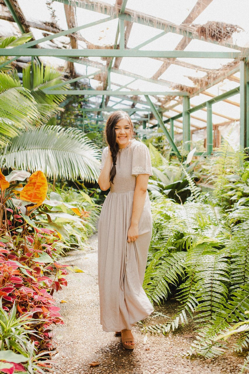 The Arely Maxi Dress in Coral