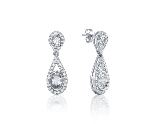 Symphony Harper 18K White-Gold Plated 3.4 Ctw Teardrop Earrings