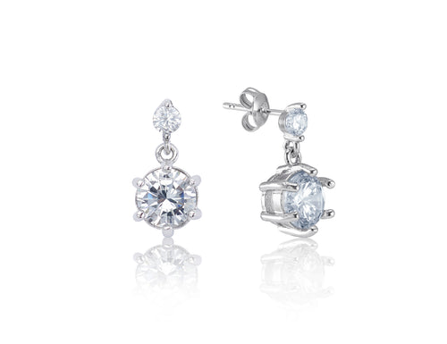 Symphony Rosalyn 18K White-Gold Plated 1.2 Ctw Duo Stone Earrings