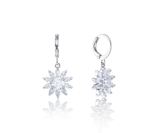 Symphony Thea 18K White – Gold Plated 4.9 Ctw Floral Drop Earrings