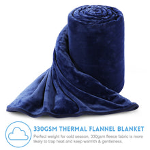 Fleece Blanket Super Soft Warm Extra Silky Lightweight Bed Blanket, Couch Blanket, Travelling and Camping Blanket (Navy Blue)