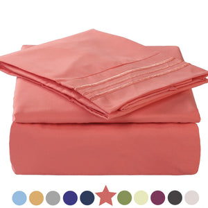 Microfiber Bed Sheet Set - Made Of 1800 Thread Count 100% Microfiber Polyester - Extra Deep Pocket - Stain Resistant, Warm, Breathable And Hypoallergenic - 3/4 Piece (Coral) - TEKAMON