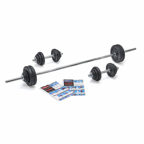 York Fitness 50 KG Cast Iron  Spinlock Barbell | Dumbbell Set