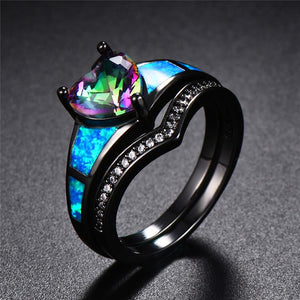 August Dual Set Black Gold Heart Birthstone Ring