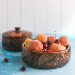 WOODEN BOWLS WITH LID - SET OF 3