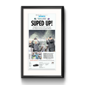 """Suped Up!"", Framed Inquirer Reprint with Mat"