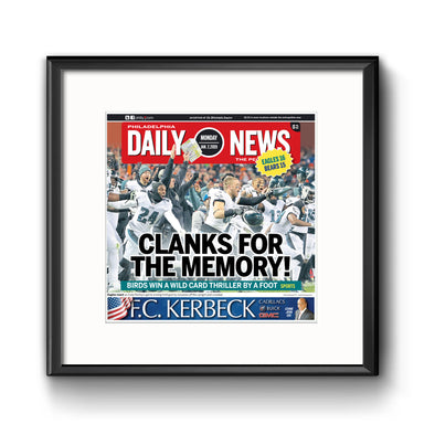 Clanks for the Memory! Daily News Sports Page Framed with Mat