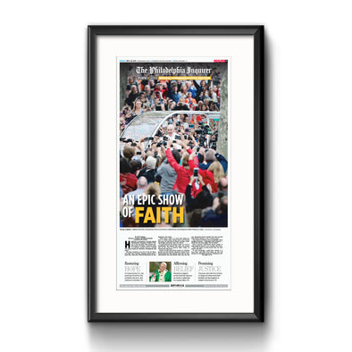 2015 Pope Visit Commemorative Page - Epic Show of Faith Framed with Mat