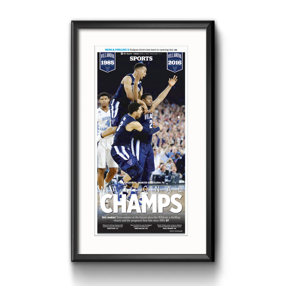 """'Nova Champs"" Villanova Basketball 2016 NCAA Champions, Framed with Mat Inquirer Reprint"