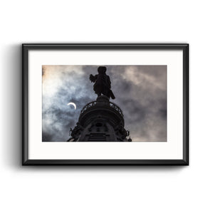 2017 Solar Eclipse Picture Framed Print with Mat, Philadelphia City Hall William Penn by Michael Bryant