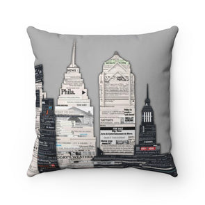 Philly Newsprint Throw Pillow