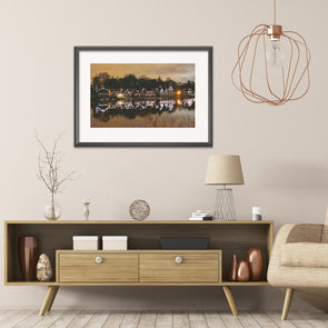 Boathouse Row at Night, Framed Print with Mat by April Saul Hanging on Wall Behind an Elegant Set of Furniture