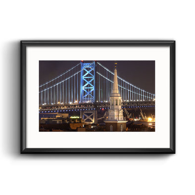 Christ Church Spire and Ben Franklin Bridge Framed Print with Mat