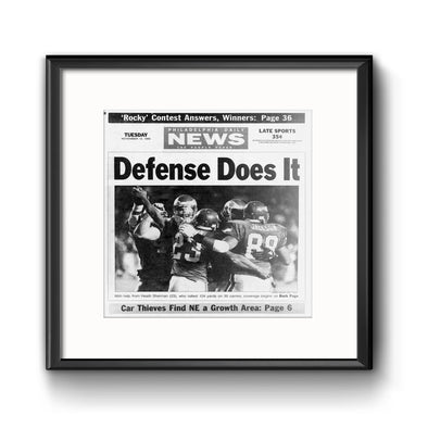 Daily News Sports Commemorative Page - Defense Does It Framed Print with Mat