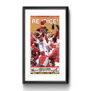 "Daily News Sports Commemorative Keepsake Page - ""Rejoice!"" Philadelphia Phillies Framed with Mat"