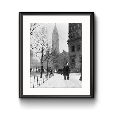 City Hall, Winter 1927 Framed Print with Mat