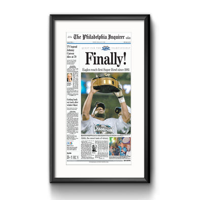 Inquirer Sports Commemorative Page - 2005 Win Framed with Mat Reprint